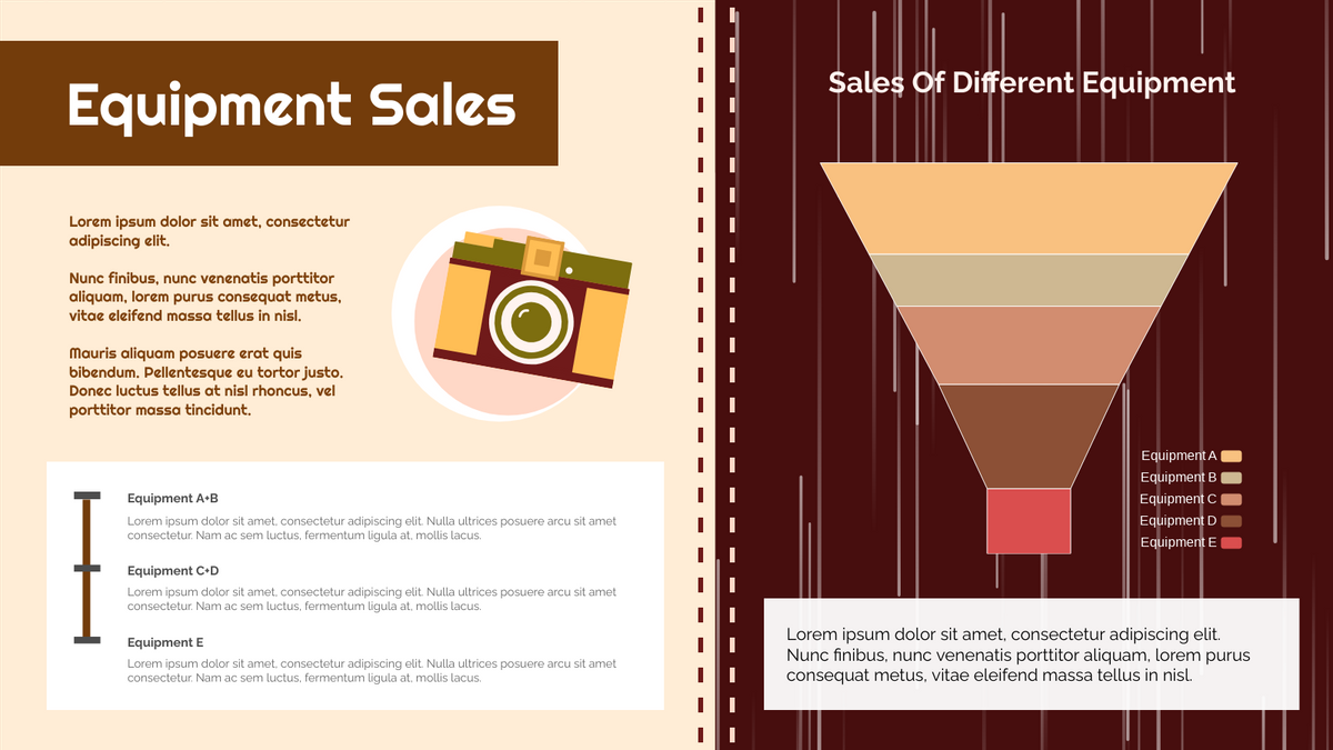 Funnel Chart template: Brown Equipment Sale Funnel Chart (Created by Chart's Funnel Chart maker)