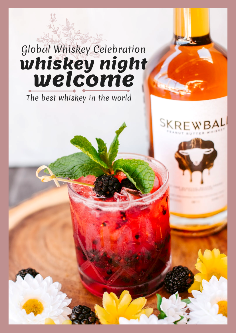 Flyer template: World Whiskey Day Pink Flyer (Created by InfoART's Flyer maker)