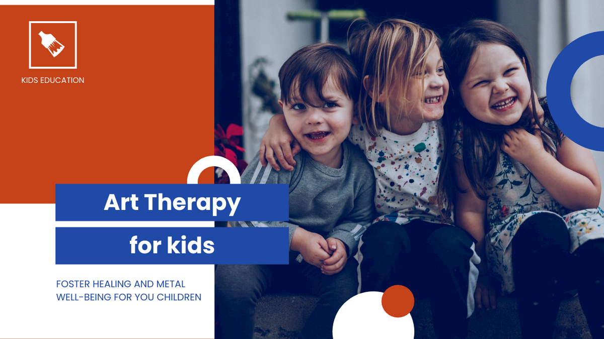 YouTube Thumbnail template: Red And Blue Children Photo Art Therapy YouTube Thumbnail (Created by InfoART's YouTube Thumbnail maker)