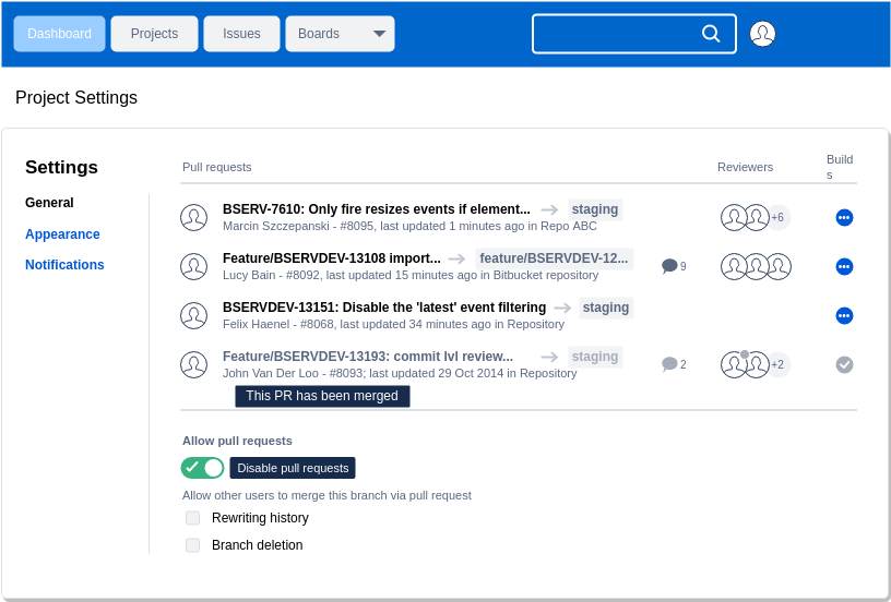 Atlassian Wireframe template: Project Setting (Created by Diagrams's Atlassian Wireframe maker)