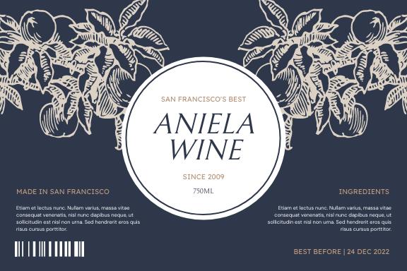 Label template: Vintage Plants Illustration Wine Label (Created by InfoART's Label maker)