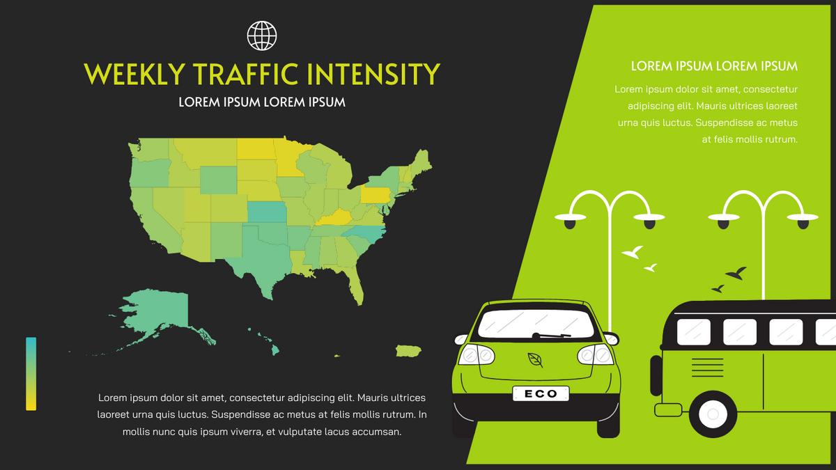 Geo Heatmap template: Weekly Traffic Intensity Geo Heatmap (Created by Chart's Geo Heatmap maker)