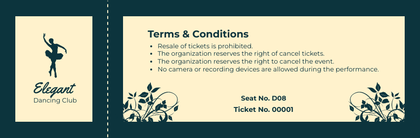 Ticket template: Dancing Show Ticket (Created by InfoART's Ticket maker)