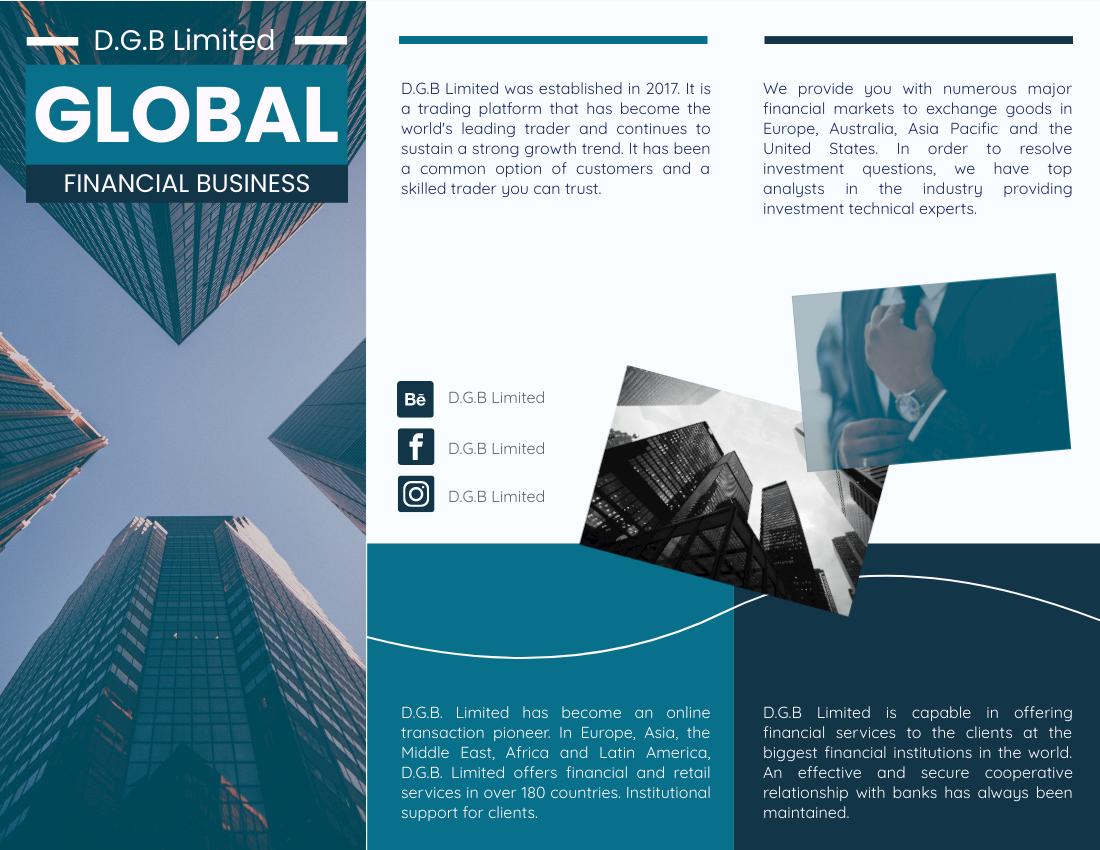 Brochure template: Navy Global Financial Business Brochure (Created by InfoART's Brochure maker)
