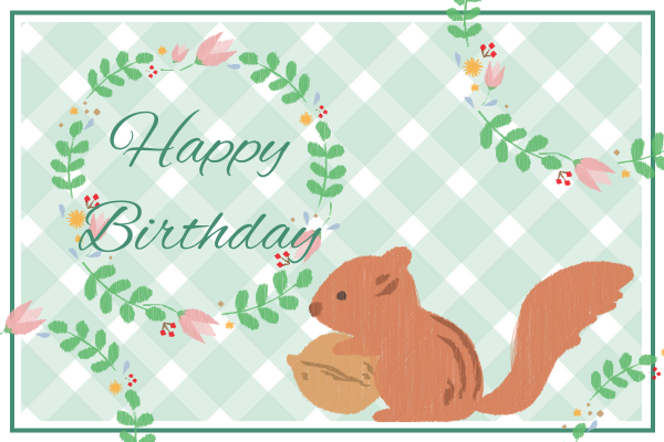 Greeting Card template: Squirrel Birthday Greeting Card (Created by InfoART's Greeting Card maker)