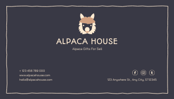 Business Card template: Pink And Grey Alpaca Illustration Business Card (Created by InfoART's Business Card maker)