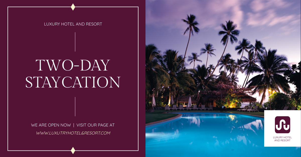 Facebook Ad template: Hotel And Resort Staycation Promotion Facebook Ad (Created by InfoART's Facebook Ad maker)