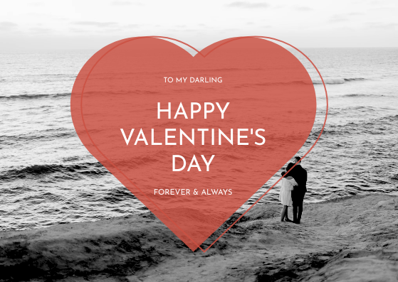 Gift Card template: Red Heart With Photo Valentines Day Gift Card (Created by InfoART's Gift Card maker)
