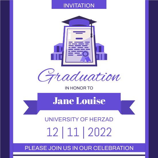 Invitation template: Purple Graduation Invitation (Created by InfoART's Invitation maker)