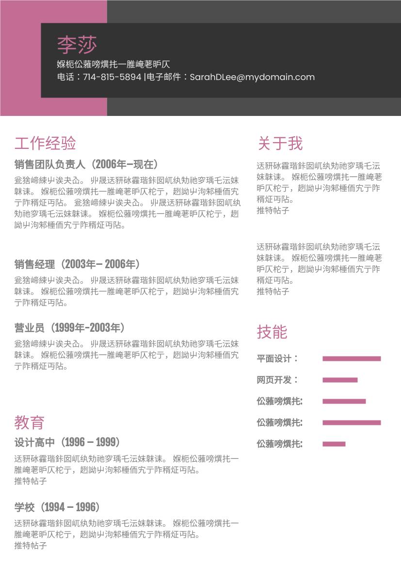 履历表 template: 深粉红色主题简历 (Created by InfoART's 履历表 maker)