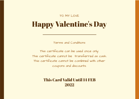 Gift Card template: Orange Sunset Photo Valentines Day Gift Card (Created by InfoART's Gift Card maker)