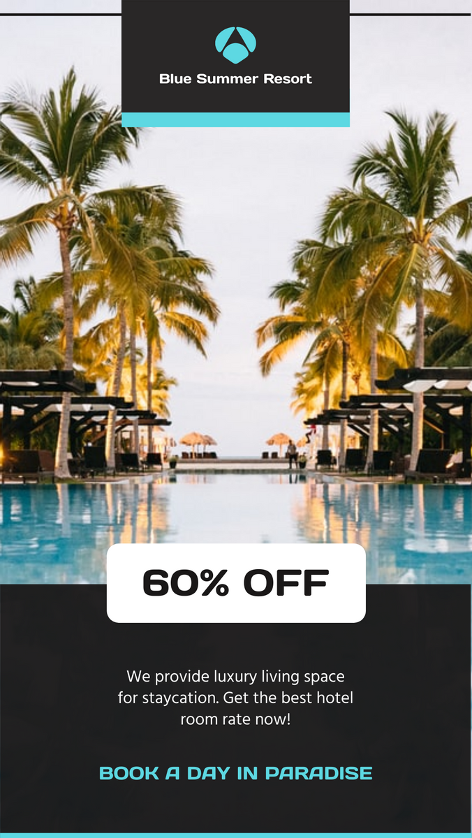 Instagram Story template: Grey And Blue Hotel Resort Booking Instagram Story (Created by InfoART's Instagram Story maker)