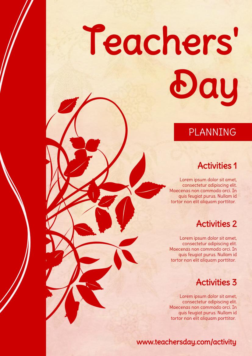 Flyer template: Elegant Floral Flyer About Teachers' Day Activities Plan (Created by InfoART's Flyer maker)