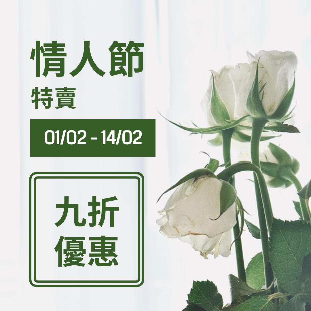 Instagram 帖子 template: 白綠二色情人節特賣Instgram帖子 (Created by InfoART's Instagram 帖子 maker)