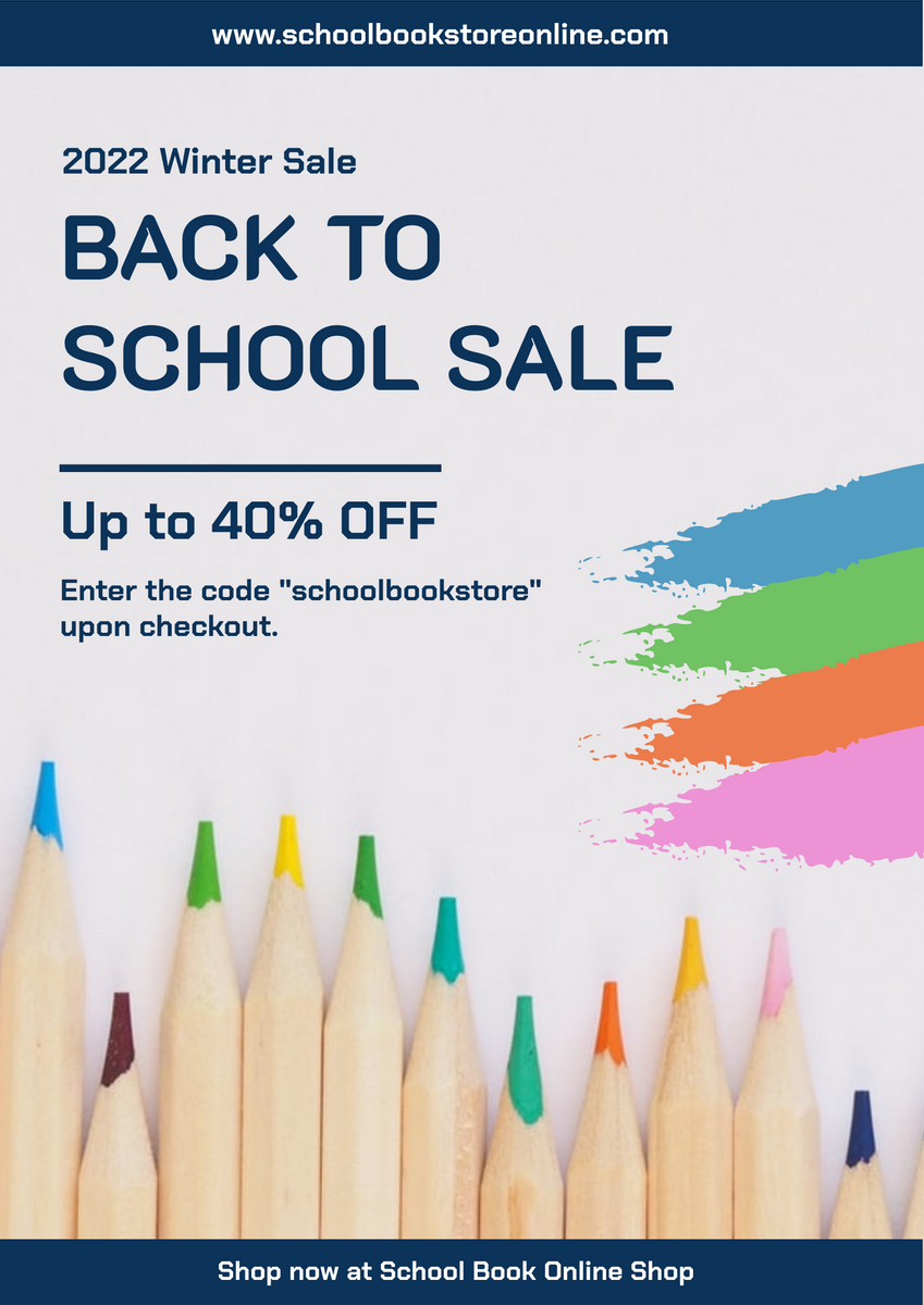 Poster template: Blue Back To School Online Shop Poster (Created by InfoART's Poster marker)