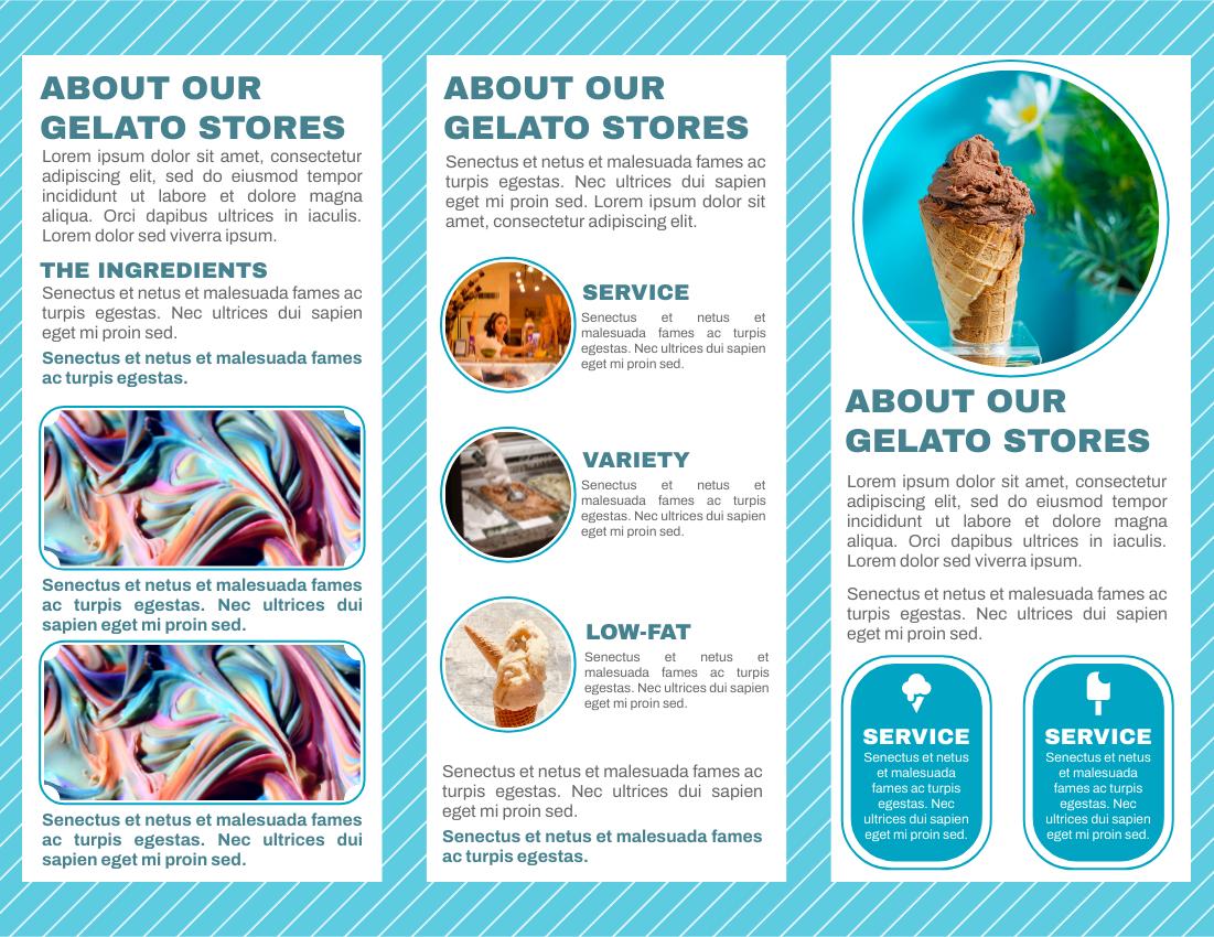 Brochure template: Low Fat Gelato Promotion Brochure (Created by InfoART's Brochure maker)