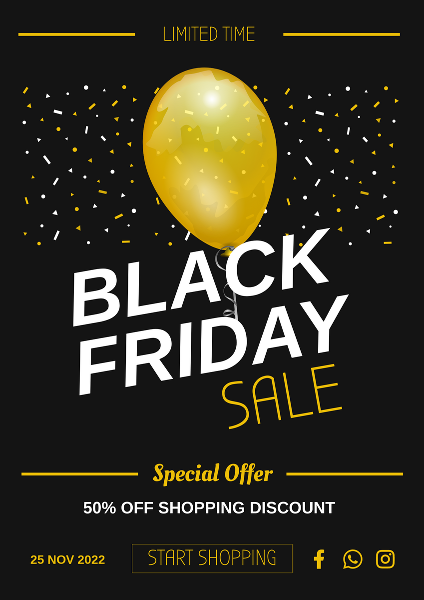 Poster template: Yellow Big Balloon Black Friday Special Offer Poster (Created by InfoART's Poster maker)