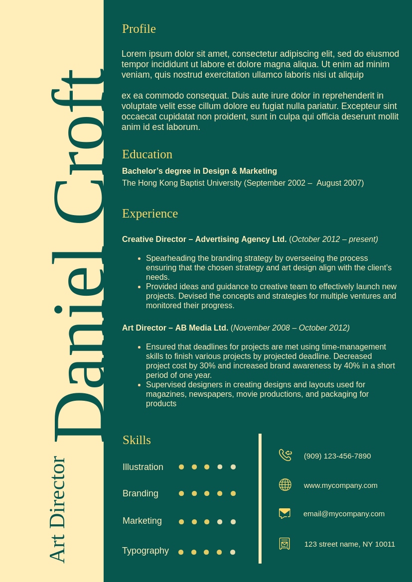 Resume template: High Contrast Theme Resume 2 (Created by InfoART's Resume maker)