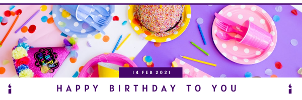 Email Header template: White And Purple Birthday Email Header (Created by InfoART's Email Header maker)