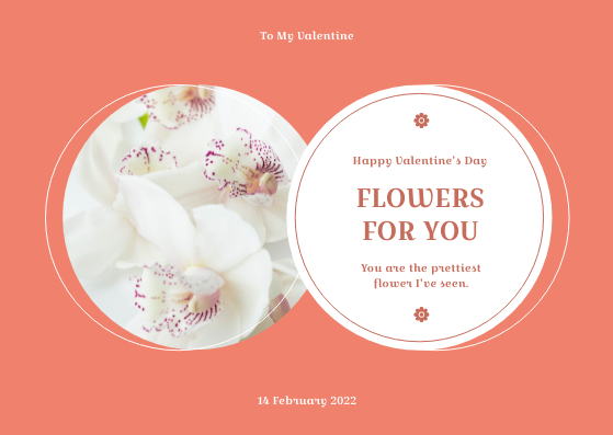 Gift Card template: Pink Floral Circles Valentines Day Gift Card (Created by InfoART's Gift Card maker)