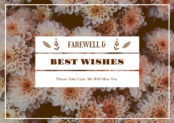 Postcard template: Brown Floral Background Farewell Postcard (Created by InfoART's Postcard maker)
