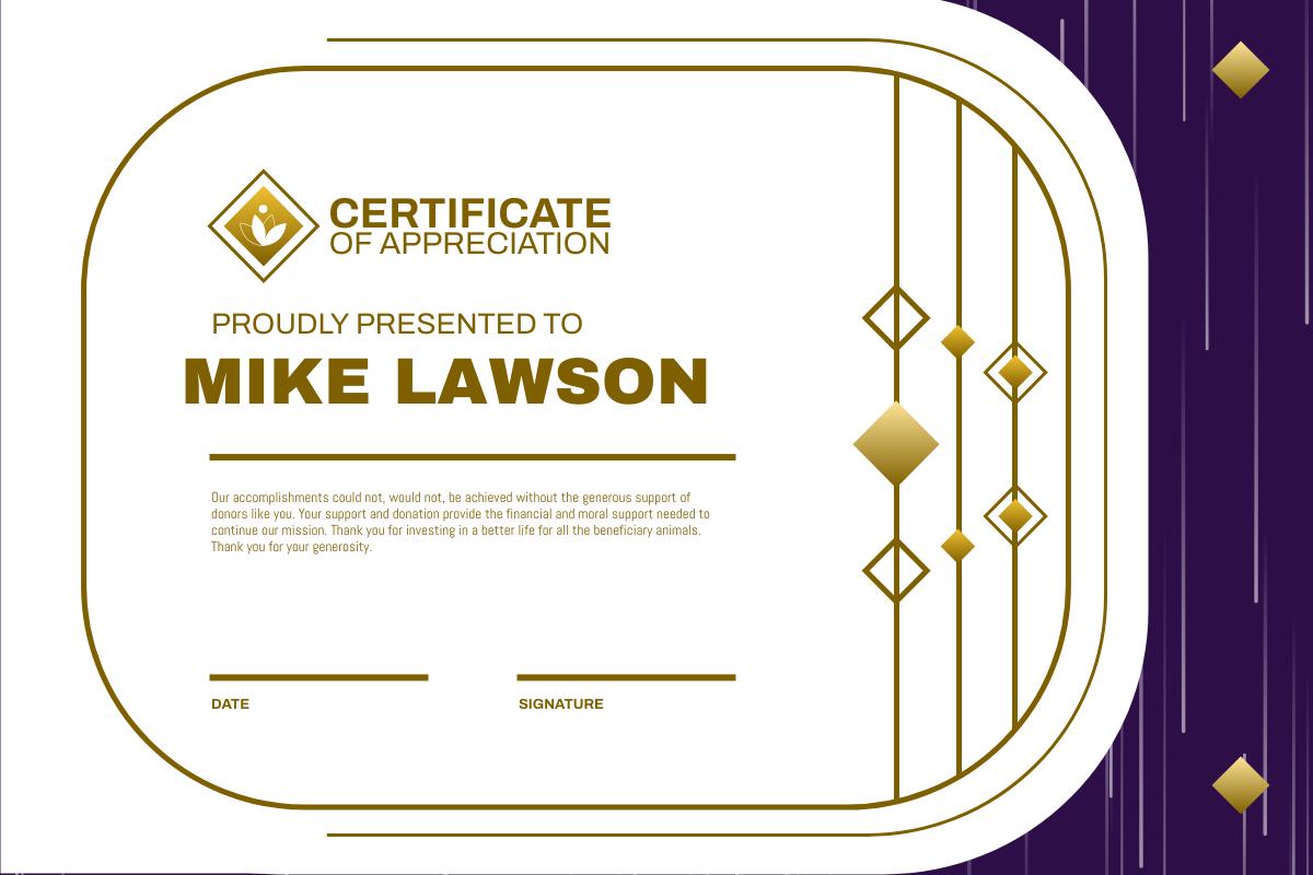 Certificate template: Ornament Appreciation Certificate (Created by InfoART's Certificate maker)