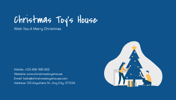 Business Card template: Yellow And Blue Blobs Christmas Business Card (Created by InfoART's Business Card maker)