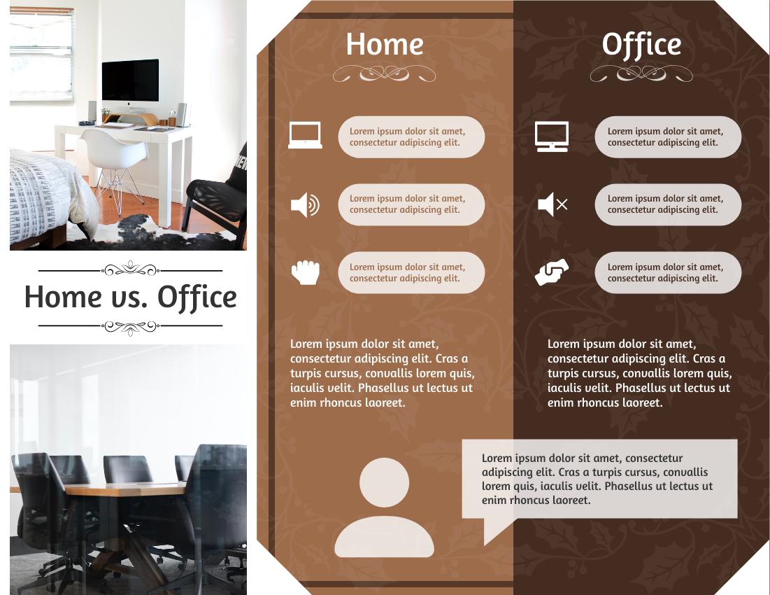 Brochure template: Home Vs. Office Brochure (Created by InfoART's Brochure maker)