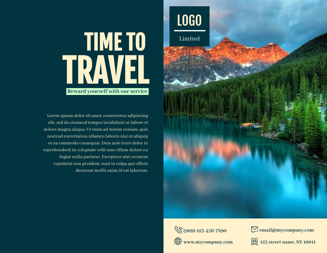 Brochure template: Time To Travel Brochure (Created by InfoART's Brochure maker)