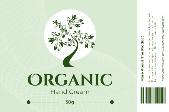 Label template: Organic Hand Cream Label (Created by InfoART's Label maker)