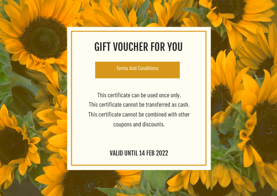 Gift Card template: Yellow Daisy Photo Valentines Day Gift Card (Created by InfoART's Gift Card maker)