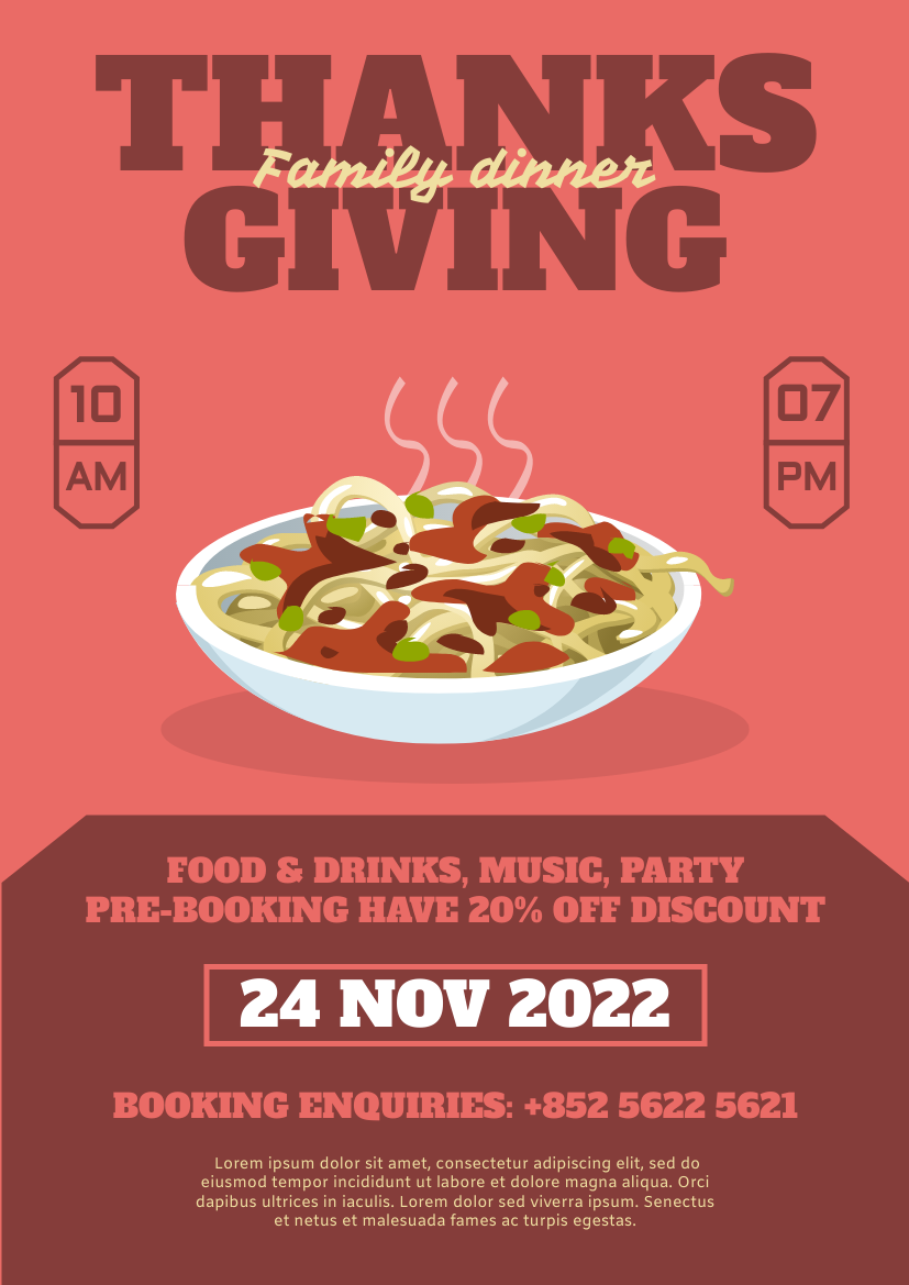 Flyer template: Coral Thanksgiving Flyer (Created by InfoART's Flyer maker)