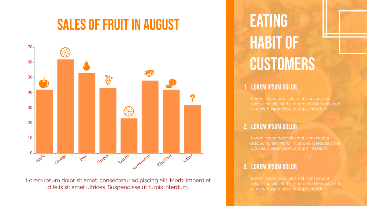 Column Chart template: Fruit Sales In August Column Chart (Created by Chart's Column Chart maker)