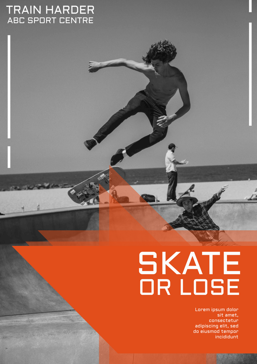Poster template: Skateboard  Training Course Poster (Created by InfoART's Poster maker)