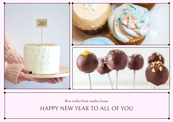 Postcard template: Pink Cakes Photos New Year Postcard (Created by InfoART's Postcard maker)