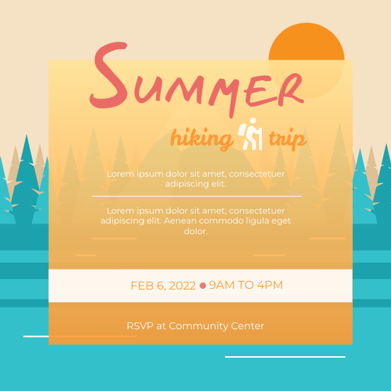 Invitation template: Hiking Trip Invitation (Created by InfoART's Invitation marker)