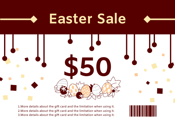 Gift Card template: Easter Sale Gift Card With Details (Created by InfoART's Gift Card maker)