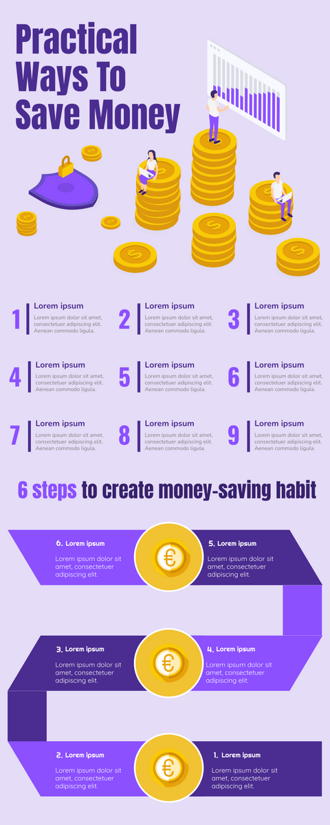 Infographic template: Ways To Save Money Infographic (Created by InfoART's Infographic maker)