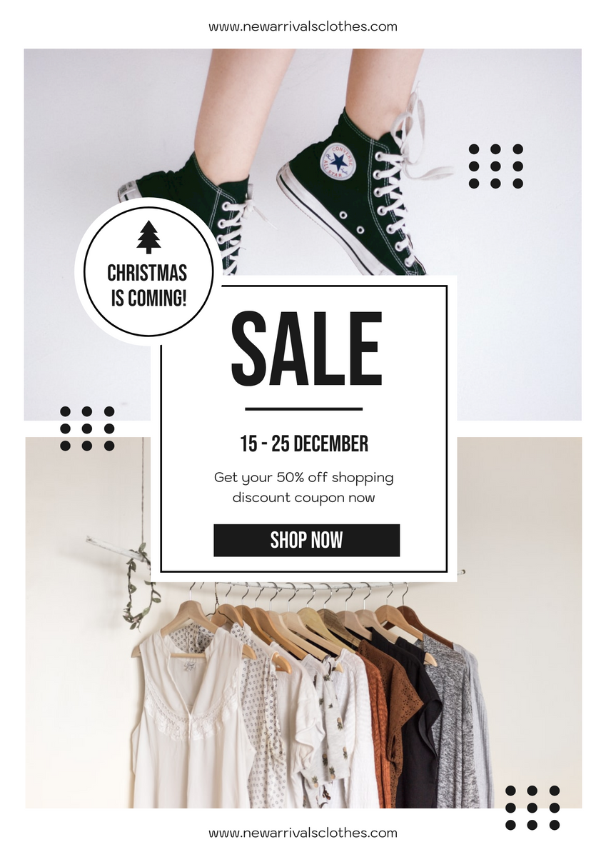 Poster template: Black Minimal Christmas Shopping Sale Poster (Created by InfoART's Poster maker)