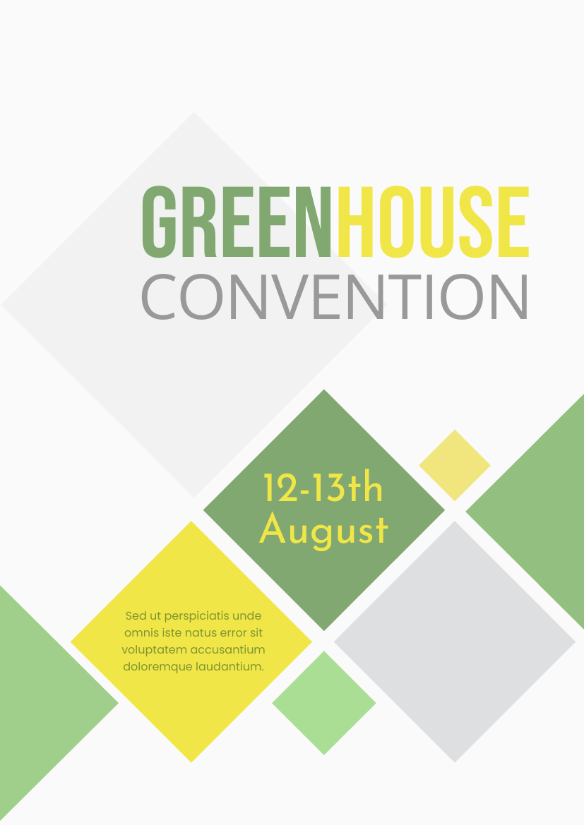 Flyer template: Greenhouse Convention (Created by InfoART's Flyer maker)