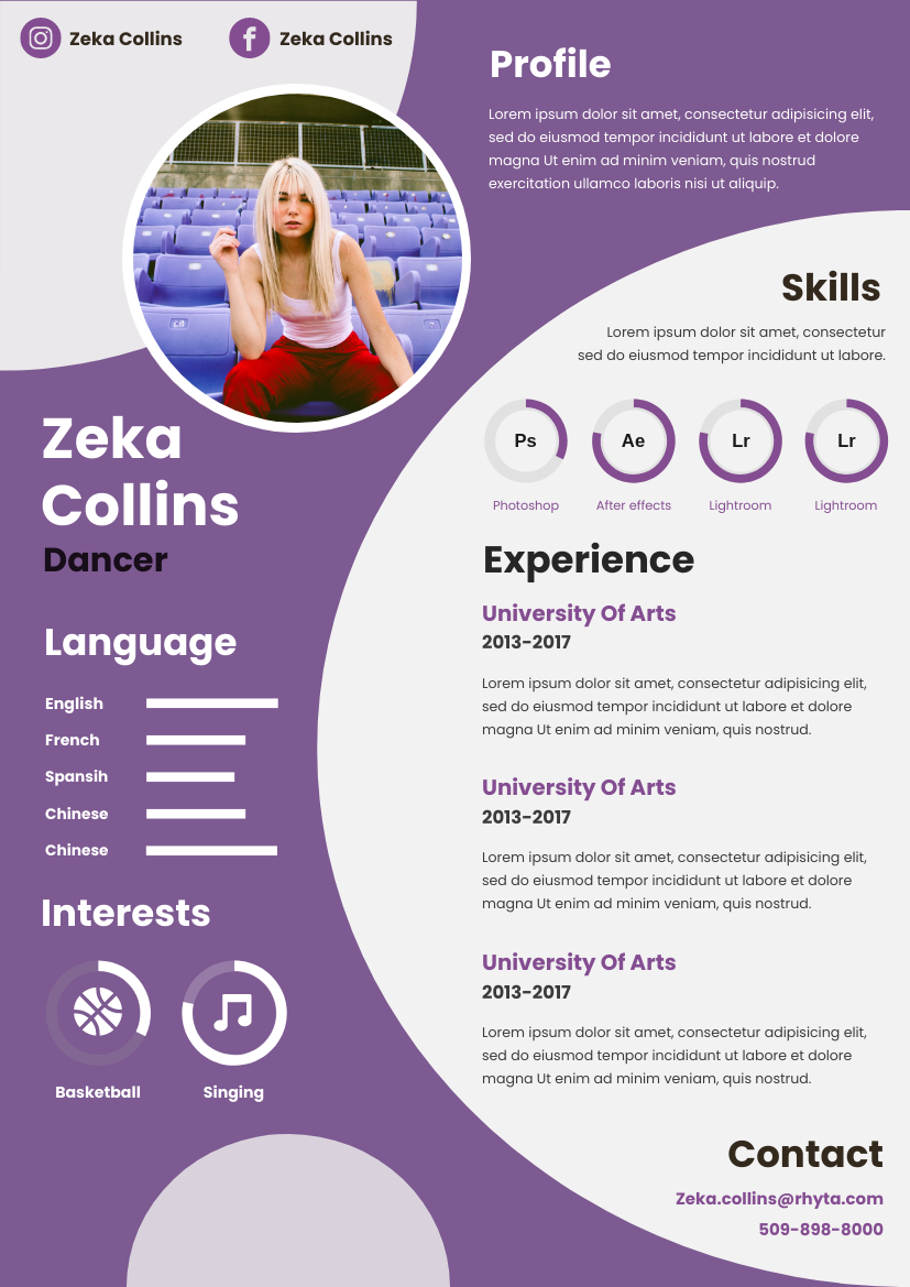 Resume template: Purple Bubbles Resume (Created by InfoART's Resume maker)