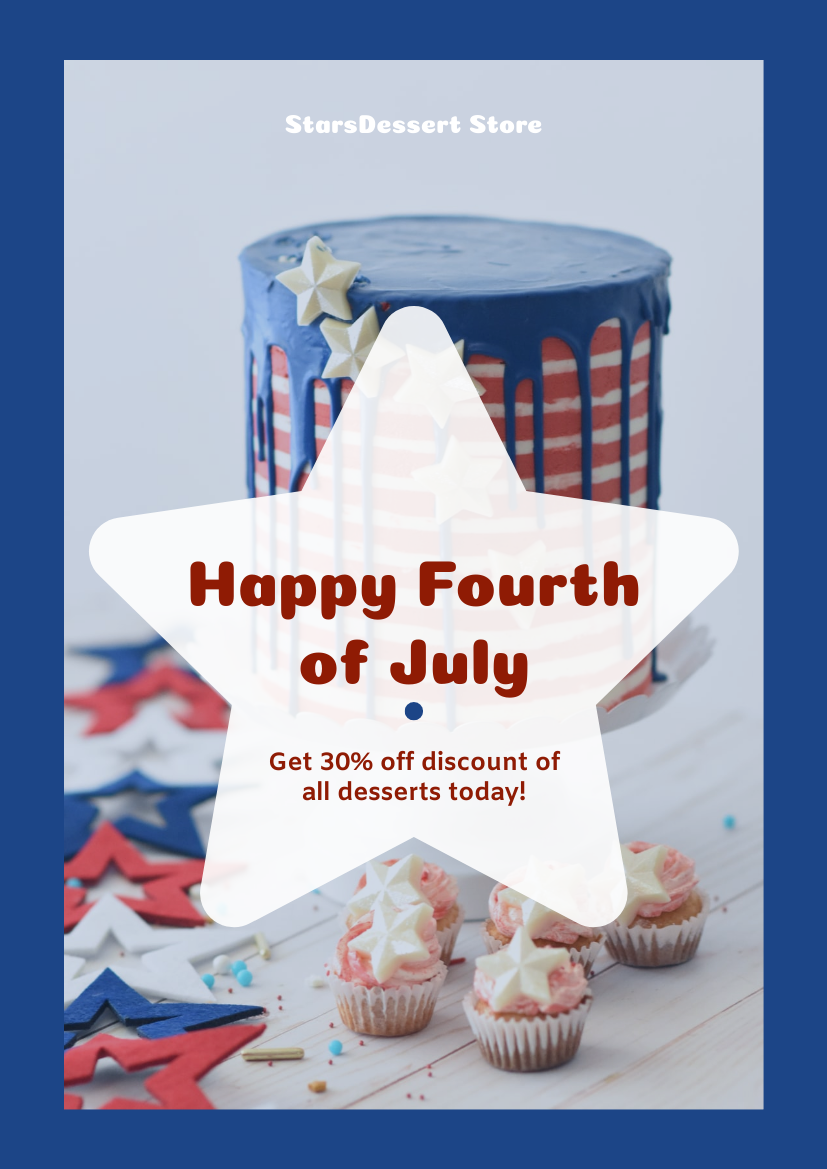 Flyer template: Fourth Of July Dessert Discount Flyer (Created by InfoART's Flyer maker)