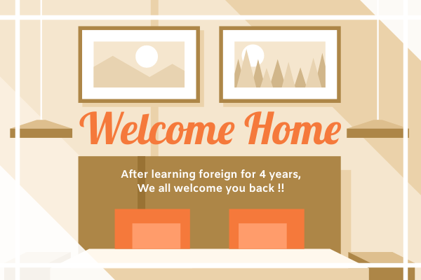 Greeting Card template: Welcome Home Greeting Card 2 (Created by InfoART's Greeting Card maker)