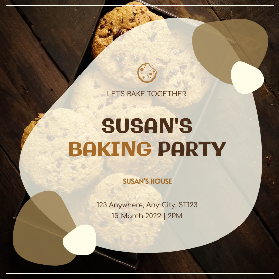 Invitation template: Brown Cookie Photo Baking Party Invitation (Created by InfoART's Invitation maker)