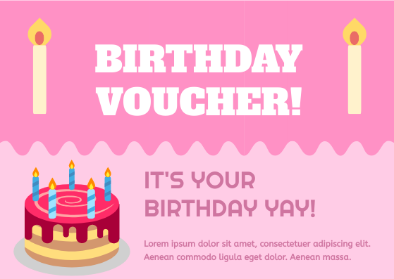 Gift Card template: Pink Birthday Gift Voucher (Created by InfoART's Gift Card marker)