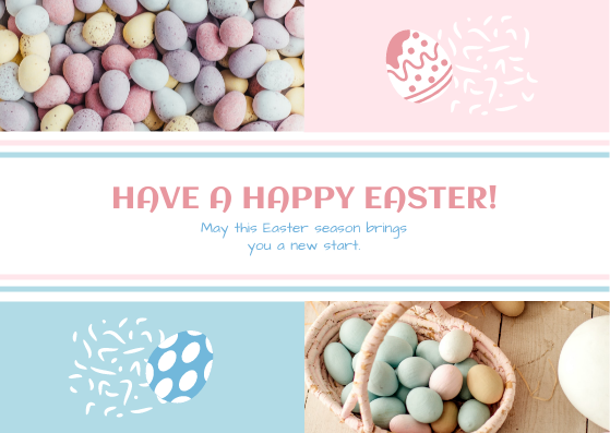 Postcard template: Pink And Blue Easter Egg Easter Postcard (Created by InfoART's Postcard maker)