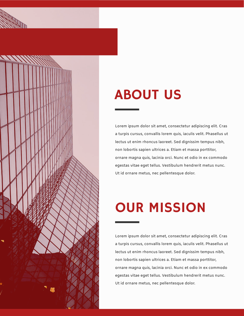 Report template: Red Corporation Annual Report (Created by InfoART's Report maker)