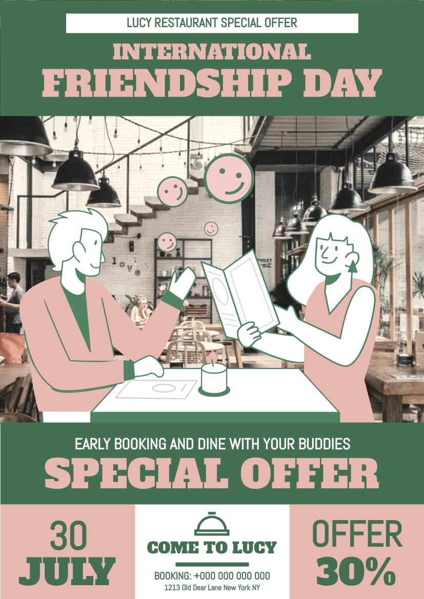 Flyer template: International Friendship Day Dining Flyer (Created by InfoART's Flyer maker)