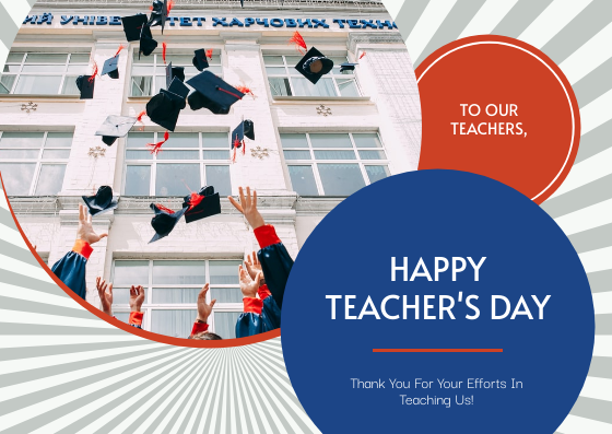 Postcard template: Red And Blue Circles Teacher's Day Postcard (Created by InfoART's Postcard maker)