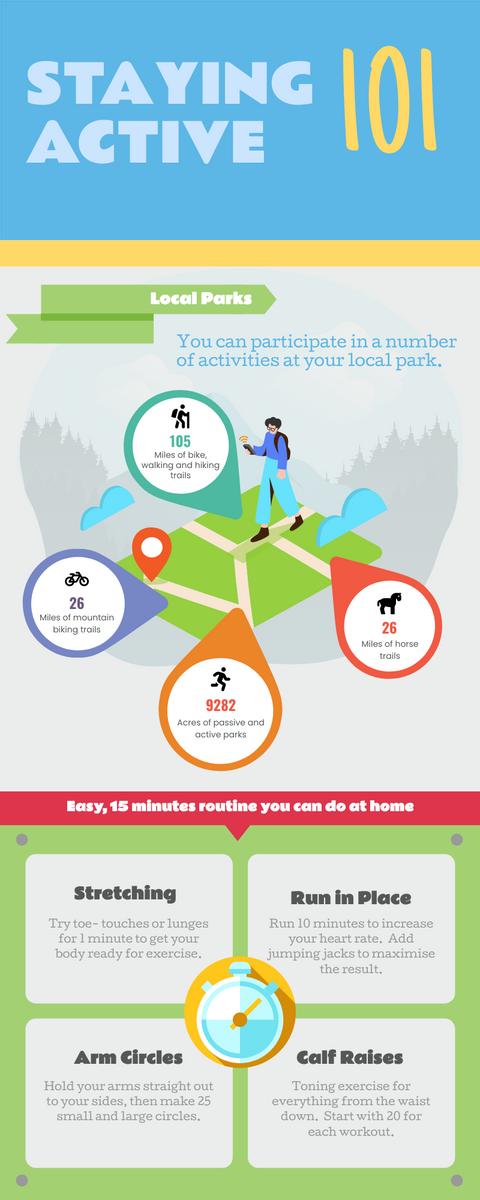 Infographic template: Staying Active Infographic (Created by InfoART's Infographic maker)